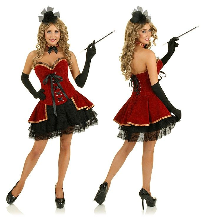 This French Cabaret burlesque can can dancer showgirl dress outfit is a fantastic costume idea for Halloween, 20's themed events & fancy dress parties. Comes complete with neck choke, boned lace up corset & 6 trim layers skirt. Shoes, gloves, hat & toy cigar are not included, sold separately. Item in stock and ready to Express post from our Sydney warehouse.
