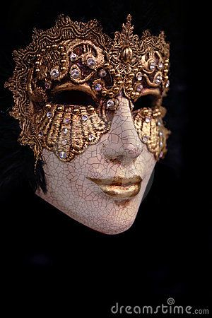 Golden venice mask with black background