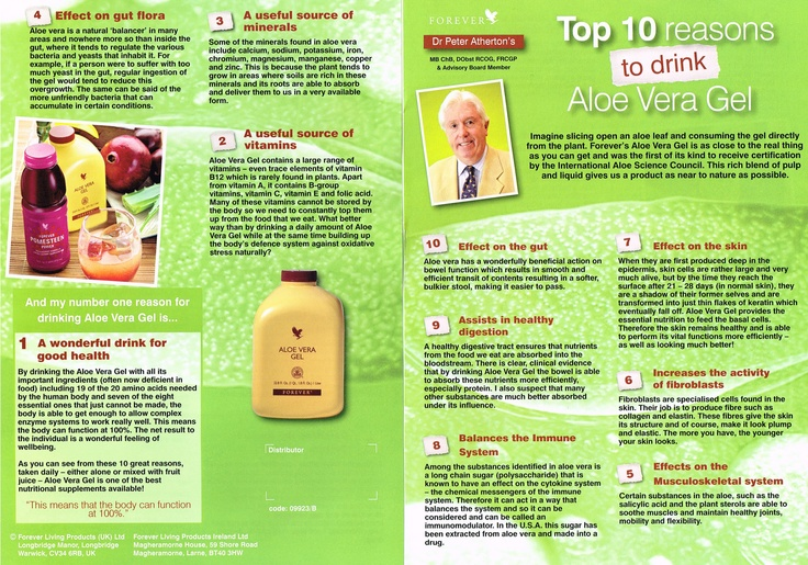 Dr. Peter Atherton's Top Ten Reasons to Drink Aloe Vera Gel. Everybody can and should take Aloe Vera gel. Order yours at http://www.flp4freedom.com/uk-store/