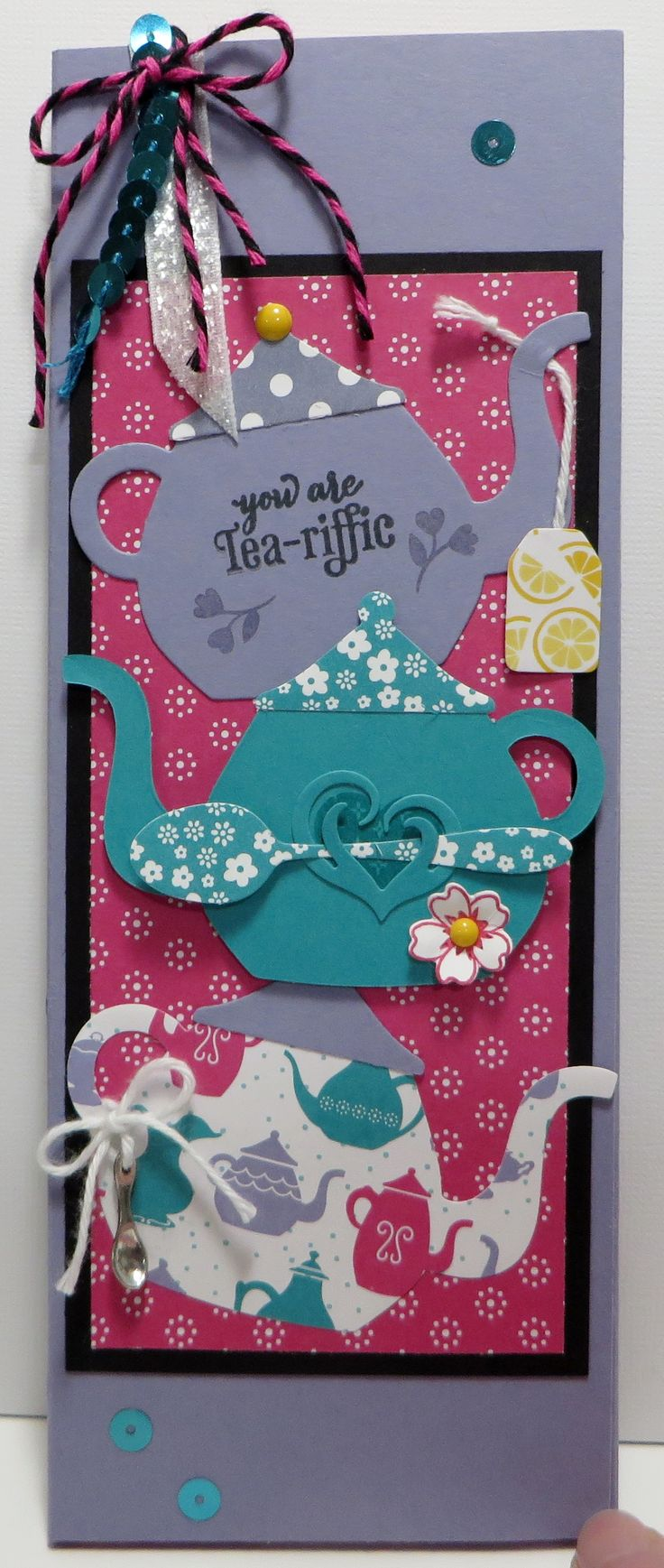 Stampin' Up Have a Cuppa, A Nice Cuppa Sticky Note Pad Gift Card Sticky Pad Holder created by Lynn Gauthier using SU's Have a Cuppa Designer Series Paper, A Nice Cuppa Stamp Set and Cups & Kettle Framelits Dies. Go to http://lynnslocker.blogspot.com/2016/01/stampin-up-have-cuppa-nice-cuppa-sticky.html for instructions for this project and to enter comment for blog candy.