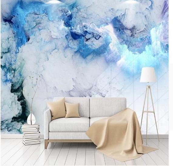 Benutzerdefinierte Irgendeine Grosse Wandbild Blaue Wolke Tapete Wohnzimmer Hintergrund Wa Wallpaper Living Room 3d Wallpaper Living Room Living Room Background