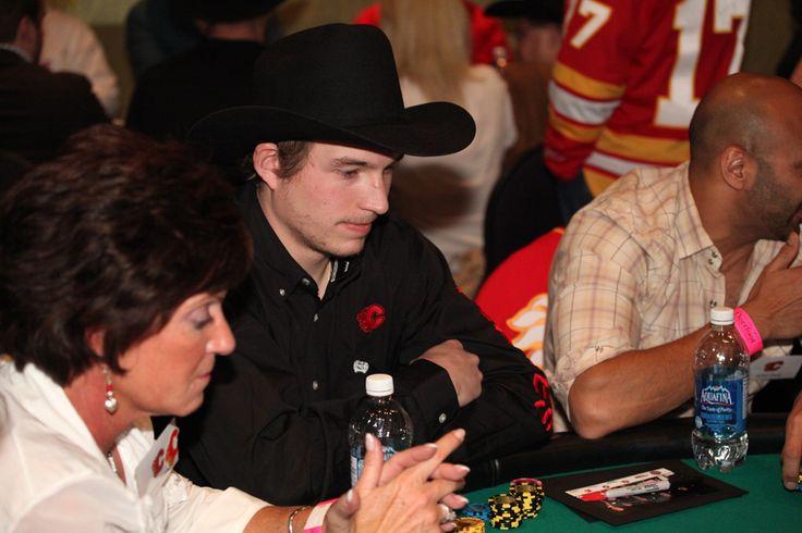 Sven Baertschi tests his poker skills at the 2013 Texas Hold 'Em Tournament.