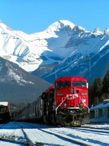 What is more beautiful than a train going through Banff National Park ~ Alberta, Canada