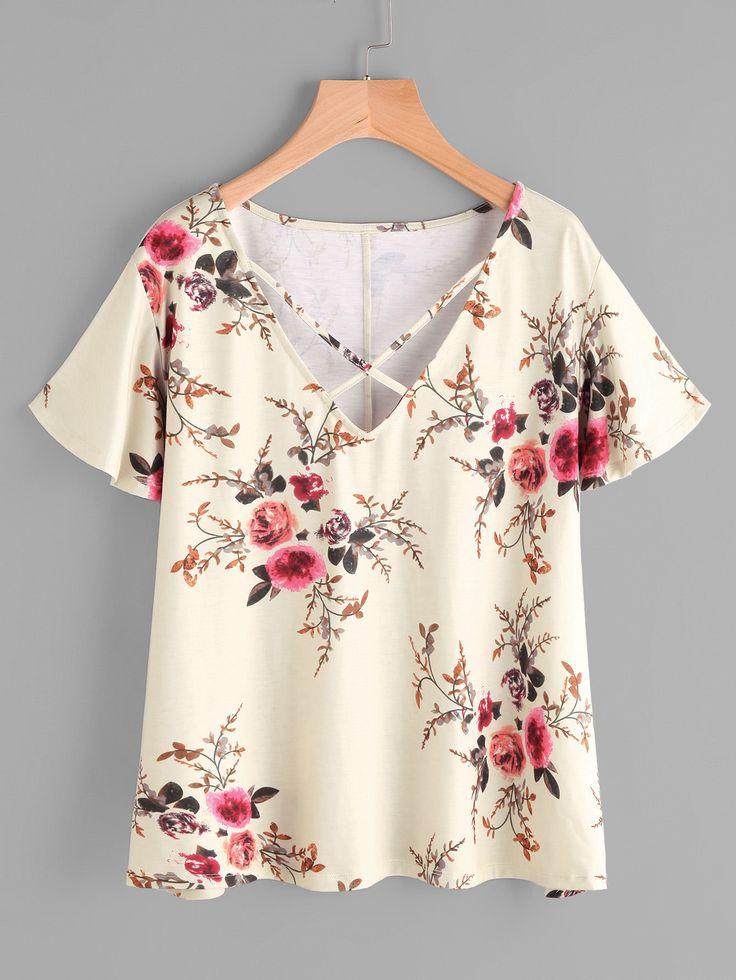 Crisscross Neck Flower Print T-shirt