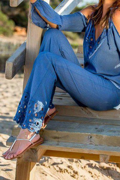 Lange Hosen TomTom Ibiza mit schönen Häkeln an der Unterseite.