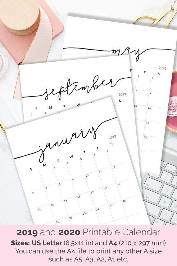 Free 2020 Calendar Printable Pdf.Printable Calendar 2019 2020 Calendar For Frame Planner Calendar