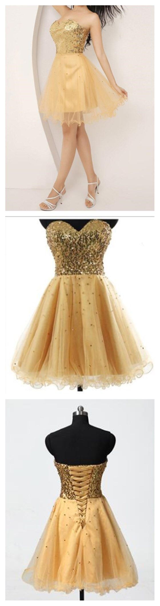 Gold Homecoming Dress,Prom Dress Fr