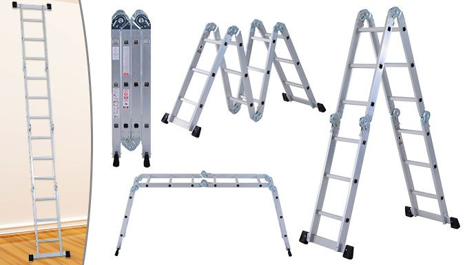 Buy 3.7m A-Type Folding Aluminium Ladder UK deal for just: £45.99 Painting, decorating, tidying and DIY-ing; do it with a 3.7m A-Type Folding Aluminium Ladder      Durable, lightweight and easy to assemble and fold away      Sturdy and safe, both can take loads of up to 150kg      Rust-proof, A-type silver finish on aoumninum frame ensures a long-lasting finish      Safety locks and...