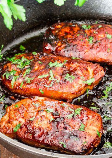 Korean Style Pork Chops With Pork Chops, Olive Oil, Soy Sauce, Honey, Garlic, Sesame Oil, Ginger, Sriracha, Black Pepper