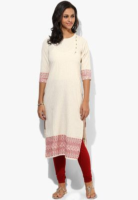 Off White Embroidered Kurta solid kurtas for women by Folklore. Crafted from cotton this , 3/4th sleeves kurtas has round neck. It comes in slim fit. http://jbo.ng/nYqMg7r
