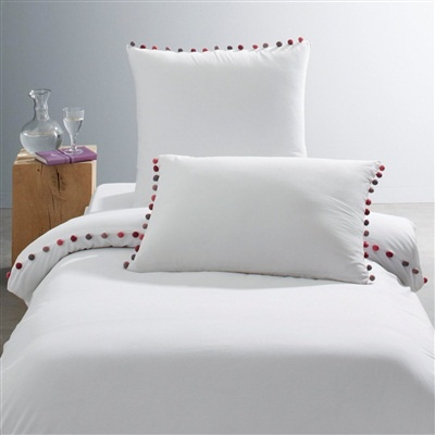 La Redoute 'Patati' Cotton Percale Duvet Cover with Pompom Trim Carbon with spicy pompoms+Taupe/pink with spicy pompoms+White with spicy pompoms+Pale pink with spicy pompoms