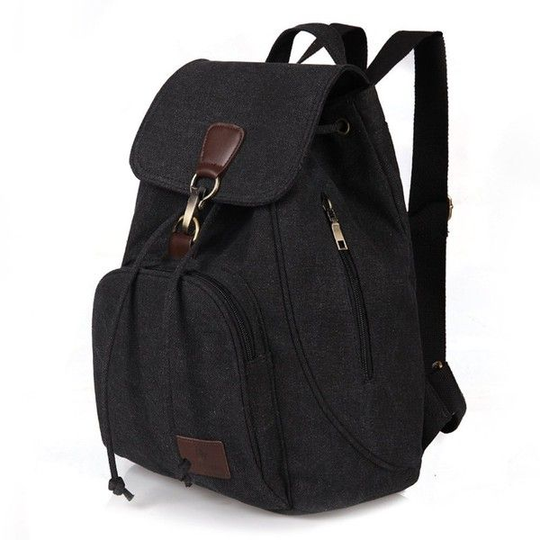 Amazon.com | School Backpack Moraner Vintage College Bookbag Canvas... ($26) ❤ liked on Polyvore featuring bags, backpacks, vintage canvas backpack, travel daypack, canvas knapsack, travel bag and backpack bags