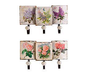 Set de 2 percheros de pared en hierro y porcelana rosas y lilas