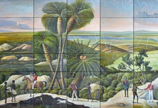 Detail - Panoramic view of Minang Boojar (Minang Land) by Christopher Pease   Michael Reid   Artists