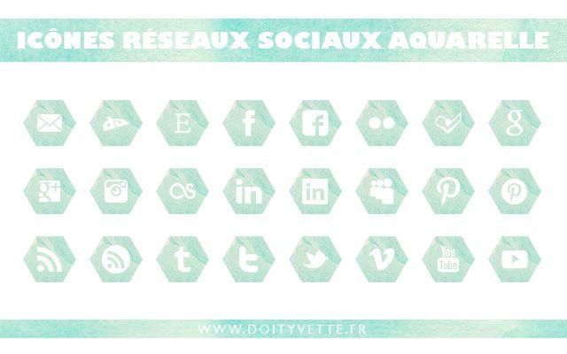icones reseaux sociaux aquarelle pour blog à télécharger