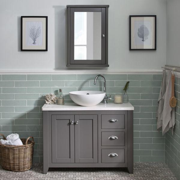 Saved For Both Tiling Colour Style Half Tiled Half Paint Wall Example Marlborough 1000mm Small Bathroom Makeover Laura Ashley Bathroom Bathroom Basin Units