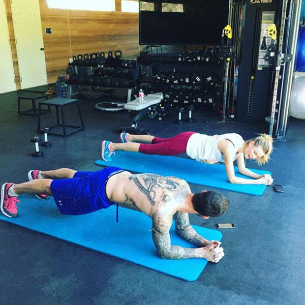 Husband-wife yogis Adam Levine and Behati Prinsloo know that couples who plank together are setting themselves up for a zen-filled marriage.