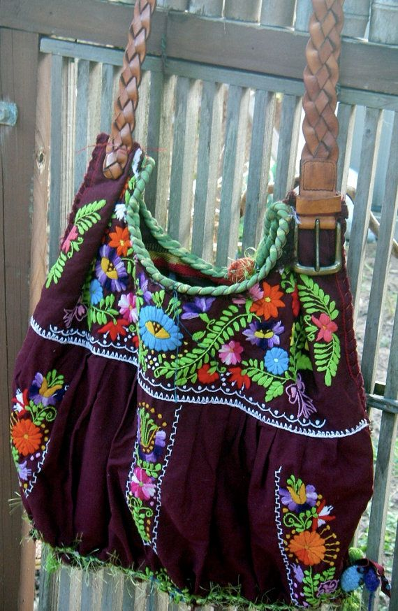 Boho bag made from a Mexican dress, love this!