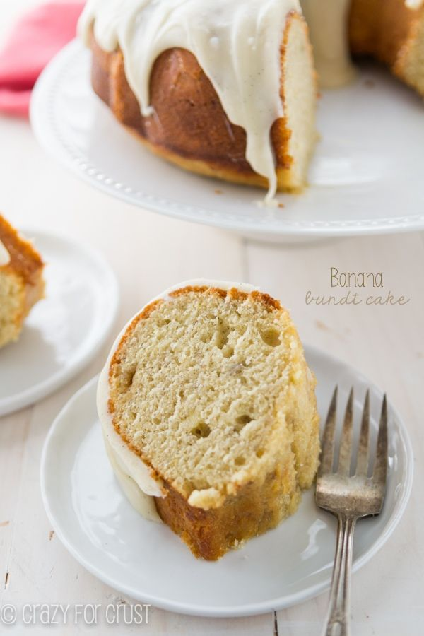 This Banana Bundt Cake is full of rich banana flavor and is topped with a cream cheese frosting!