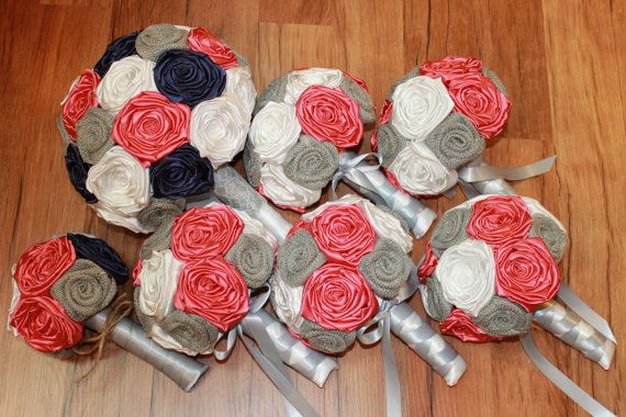 Absolutely beautiful!   https://www.etsy.com/listing/242345076/deposit-coral-navy-white-grey-burlap
