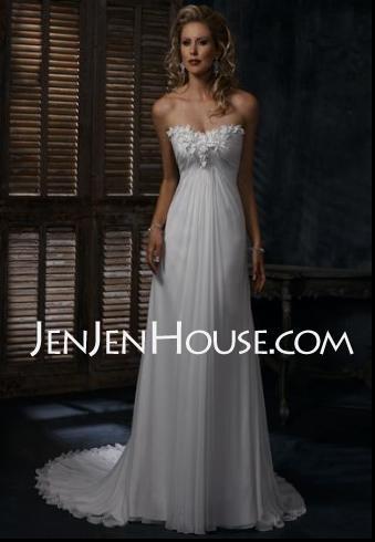 Wedding Dresses - $173.99 - Sheath/Column Chapel Train Ruffle  Beadwork Sleeveless Wedding Dresses With Chiffon  Charmeuse (002000679) http://jenjenhouse.com/Sheath-Column-Chapel-Train-Ruffle--Beadwork-Sleeveless-Wedding-Dresses-With-Chiffon--Charmeuse-002000679-g679: Wedding Dressses, Wedding Dresses, Wedding Ideas, Weddings, Dream Wedding, Beach Wedding
