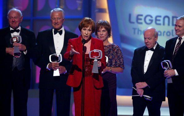 LR Actors Harvey Korman Lyle Waggoner Tim Conway Vicki Lawrence Carol Burnett and Designer Bob Mackie accept the Legend Award for 'The Carol Burnett...