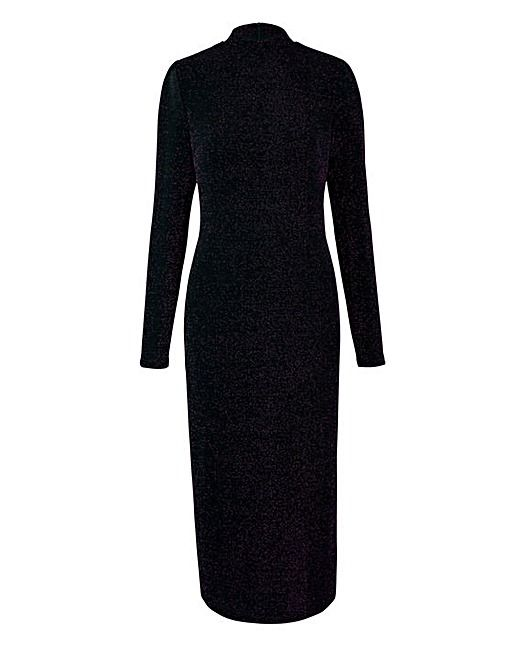 Purple/Black Glitter Jersey Midi Dress | J D Williams