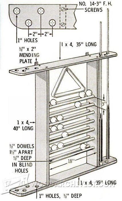 2646-Pool Cue Rack Plans