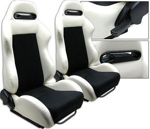 """new 1 pair white pvc leather black suede adjustable racing seats all ford - Categoria: Avisos Clasificados Gratis  Item Condition: New1 PAIR WHITE & BLACK RACING SEATSADJUSTABLE SEATS SLIDERSFits on ALL FORDNew in the Original PackageHigh QualityMade of PVC LeatherWHITE Area & SuedeBLACK AreaSold in 1 Pair 2 SeatsDeep: 23""""Wide: 21""""Tall: 35""""Weight: 35 lbs eachThese seats are designed for universal fit It come with universal adjustment bracket sliders on the seat frame but adaptorsbrackets are…"""