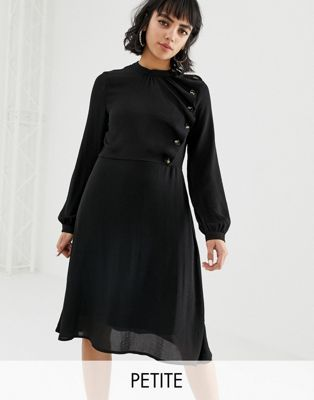 db2d4a904b1b Vero Moda Petite button detail skater dress in black in 2019 ...