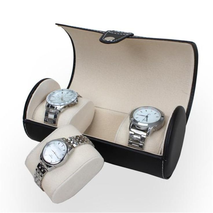 Portable Travel Watch Case Roll 3 Slot Wristwatch Box Storage