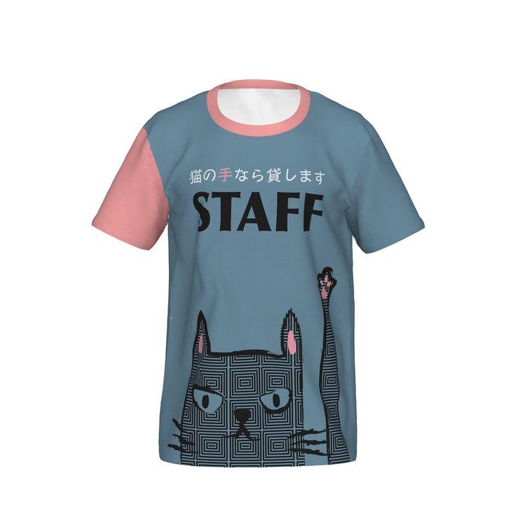 業種を問わないイヴェントでのスタッフ用Tシャツです。女性用サイズにはピンク、ミドルサイズには黒、男性サイズにはモノトーンを用意してあります。/Staff Shirt-neko Pink - casataco
