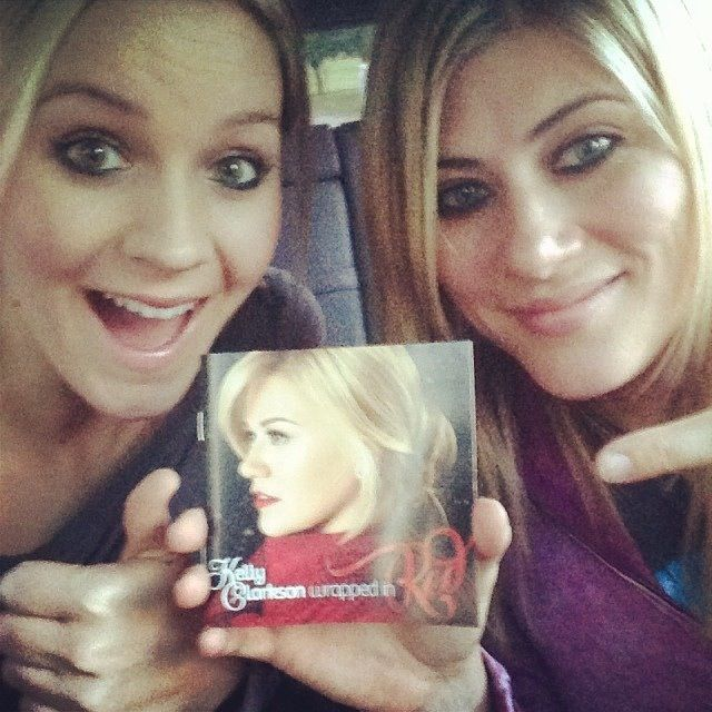 Kelly Clarkson's new album - Jill and Kate with a copy of Wrapped In Red!