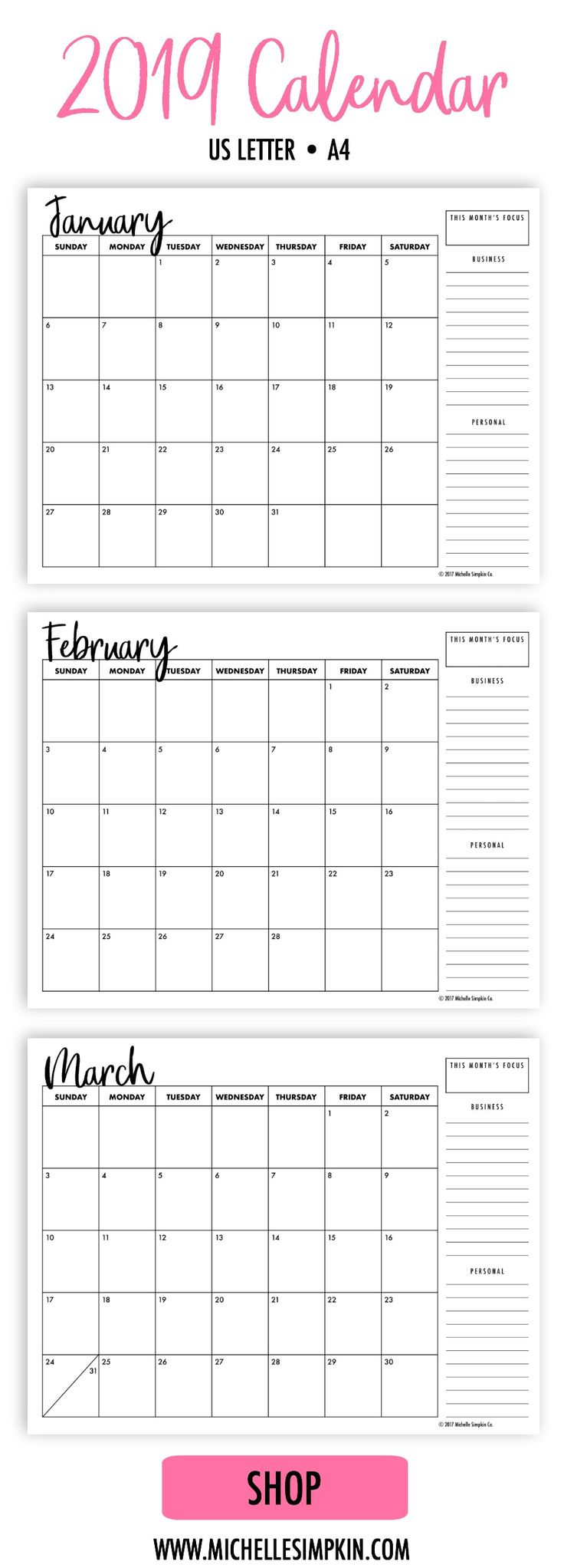 2019 Printable Calendar - A simple, minimalist design to help you organize your life and business. Keep everything all in one spot.   Printable Calendars | 2019 Calendar | Monthly Calendar | Monthly Planner | Printable Planner  #2019calendar #2019printable #monthlyplanner www.michellesimpkin.com/2019-calendars