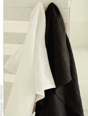 White/charcoal linen tea towels 80 x 65cm