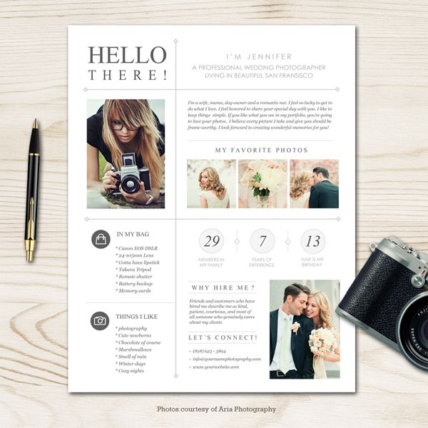Moderna photographer bio template sdp branding ideas for Photography bio template