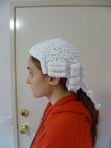 Free Barrister's wig pattern - would be cute for Halloween.