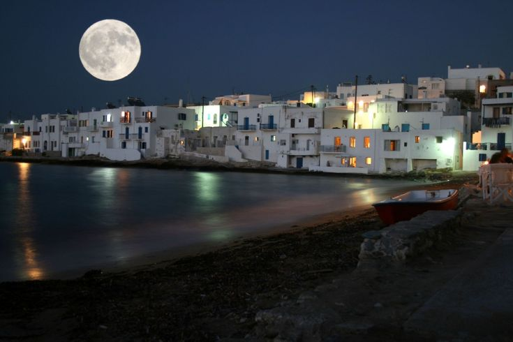 Paros Island By Night And Moonlight View Of The Town Of Naoussa Greece - Paros Island By Night And Moonlight View Of The Town Of Naoussa Greece