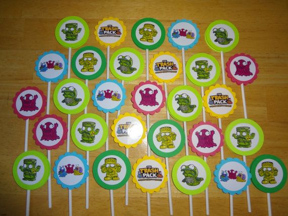30 The Trash Pack cupcake toppers personalized birthday party favors