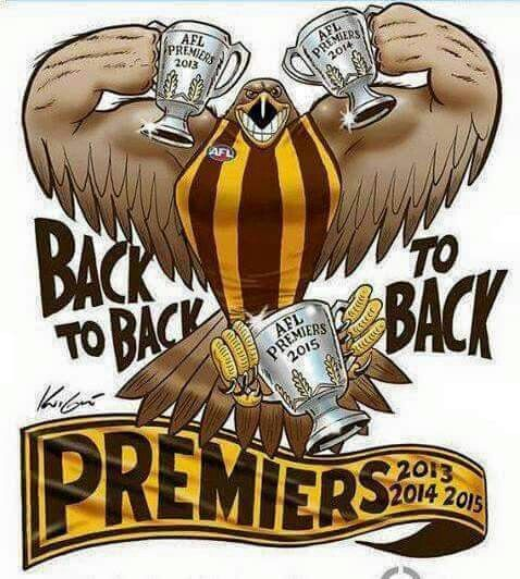 Hawthorn Hawks. Champions. 2013 2014 2015. 3peat.