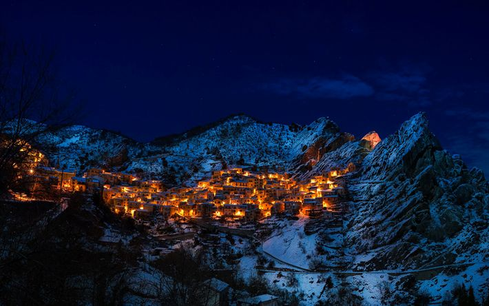 Download wallpapers Castelmezzano, mountains, winter, nightscapes, Europe, Italy