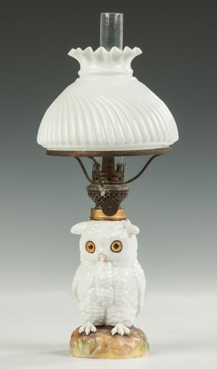 Vintage owl lamps - Miniature Milk Glass Owl Oil Lamp Cottone Auctions