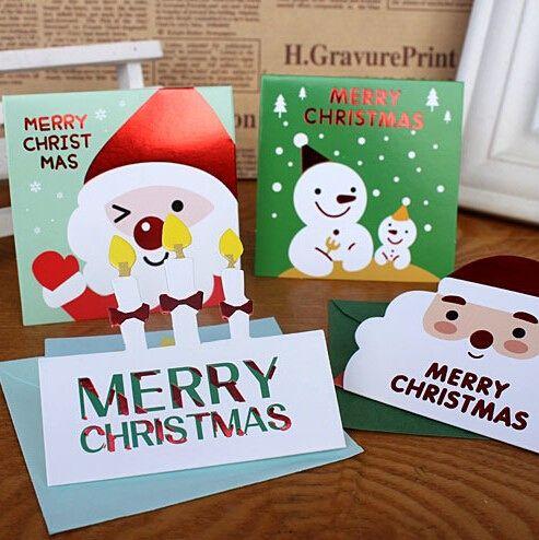 20 шт. Мини Подарочные карты Санта-клауса Снеговик шаблон Карты бумаги ручной работы поздравительные открытки Рождественские подарки сувениры желаю открытки(China (Mainland))
