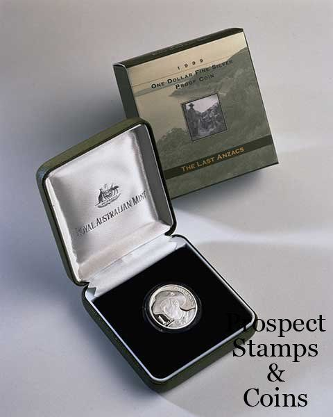 Royal Australian Mint :: 1996 - 2000 Coin Releases :: 1999 LAST ANZAC One Dollar Silver Proof Coin