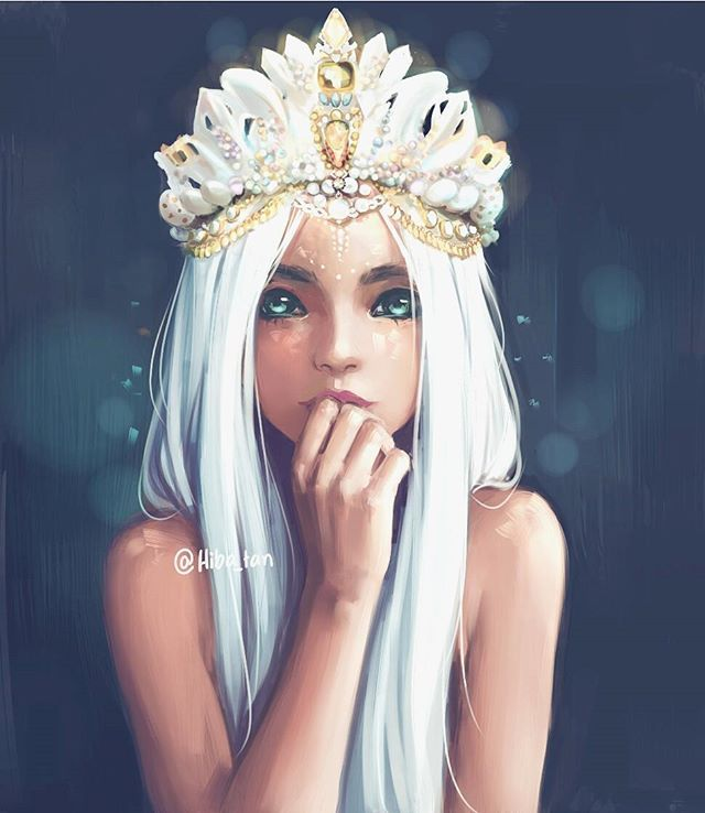 """Queen"" Did this painting last week!! It was so much fun *^* especially the crown part ♡ Crown inspired by @chelseasflowercrowns she has really beautiful crowns ; v ; #art #artist #semirealism #paint #painting #fantasyart #digitalart #drawing #crown #illustration #digitalartist #whitehair #instaart #color #jewelry #shiny #draw #Painttoolsai"