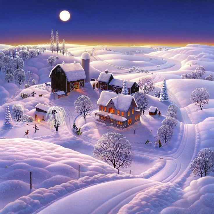 Winter On The Farm Canvas Print / Canvas Art by Robin Moline