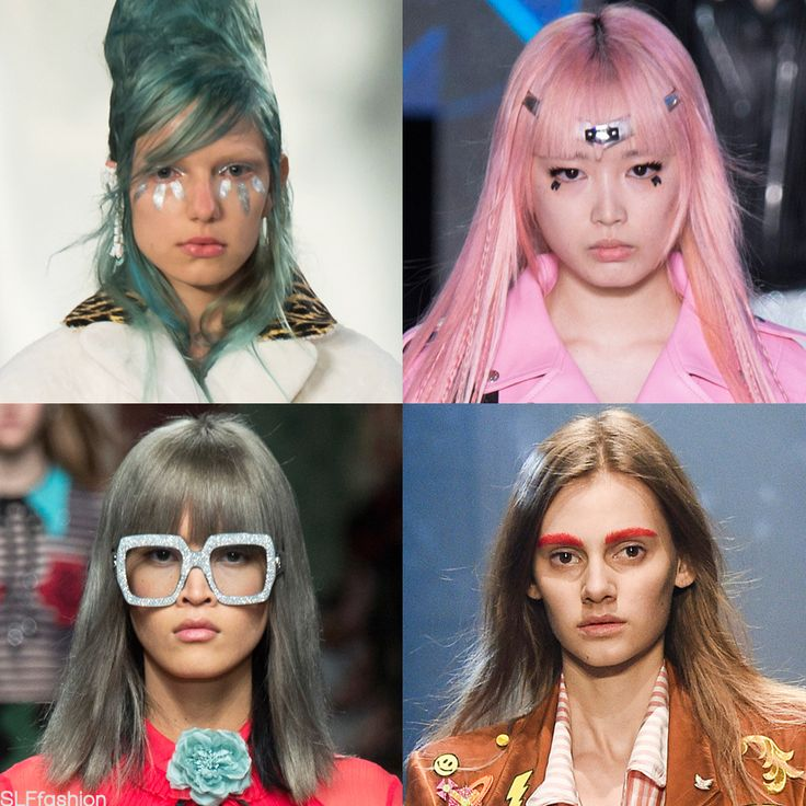 Funky Hair color for SS16: Avant garde hair colors. Mermaid blue/green hair color atMaison Margiela, candy bubblegum pink hair color atLouis Vuitton, pale blue sheen grey hair color at Gucci, and orange wood hair color at Vivienne Westwood Spring Summer 2016.