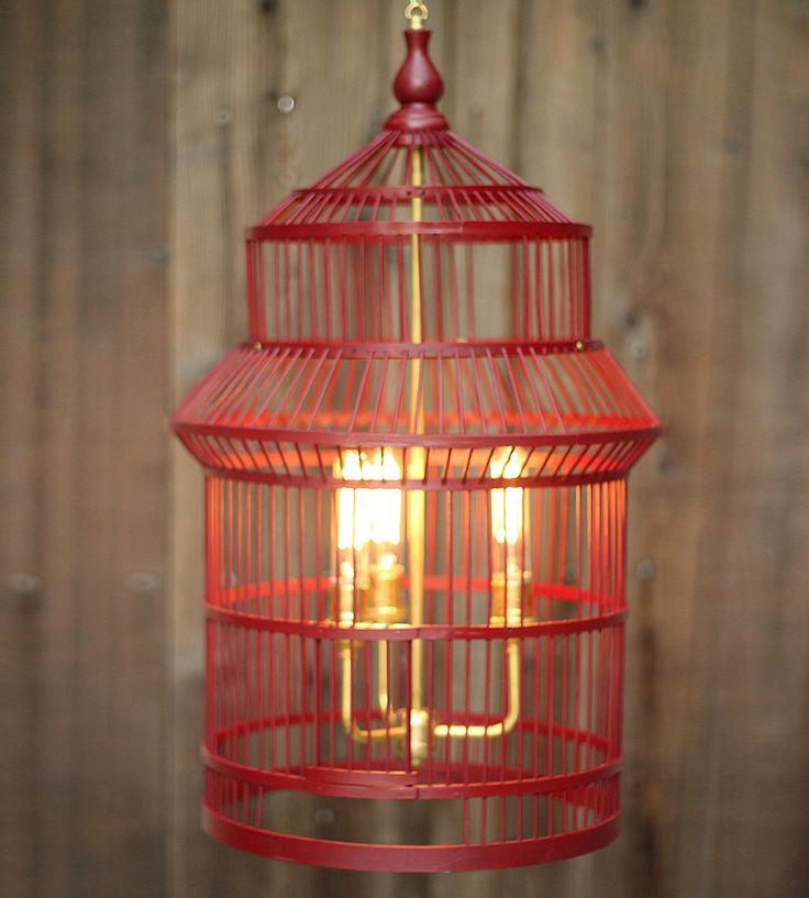 Vintage Wood Birdcage Chandelier | No longer suitable for housing fine-feathered friends, this bi... | Lamps
