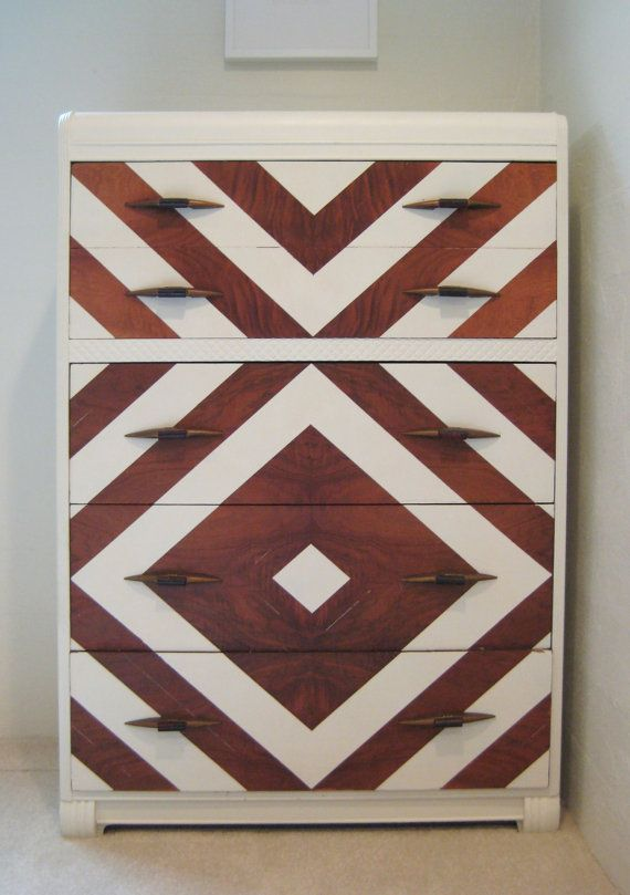 Chevron Painted Art Deco Dresser  Vintage Modern by dwellbeing