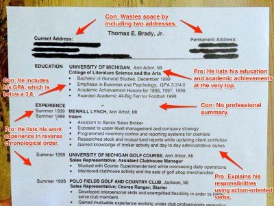 Here's Tom Brady's College Résumé - Business Insider // There's actually some useful tips that go along with this!